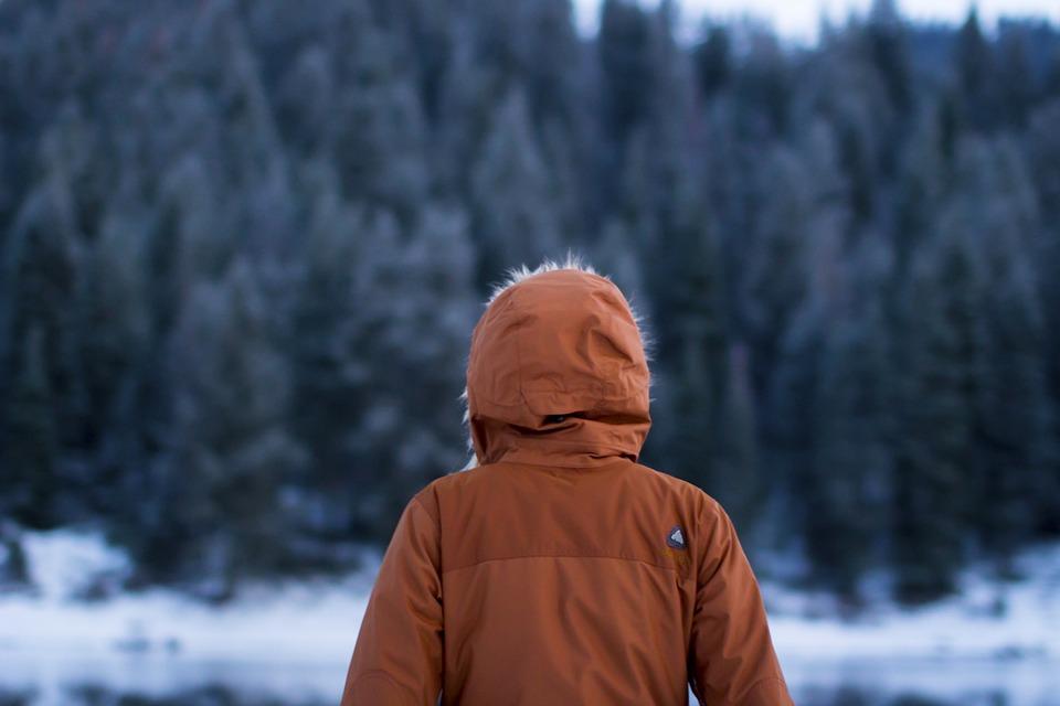 Winter blues - man in woods